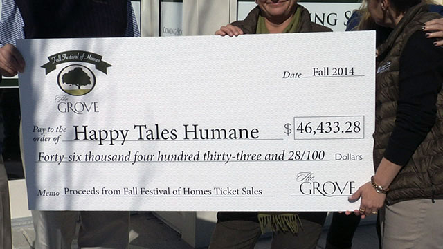 Happy Tales Humane check presentation at The Grove, Franklin TN